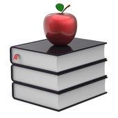 Books apple black red index textbooks stack education icon — Stockfoto