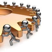 Team work partnership business men turning golden gear — Stock Photo