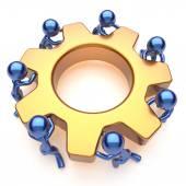 Partnership team work business process men workers gear — Stock Photo