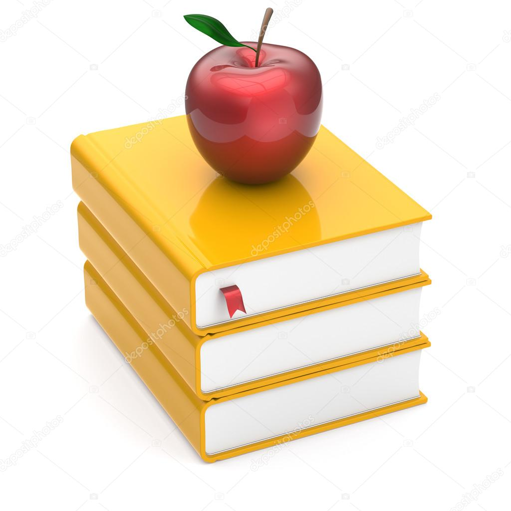 red apple books yellow textbooks stack studying symbol stock red apple books yellow textbooks stack studying symbol stock photo 73161789