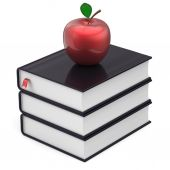 Books black apple red index textbooks stack education icon — Stock Photo