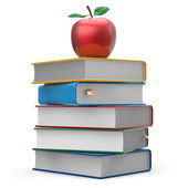 Books stack colorful textbooks and red apple studying icon — Stock Photo