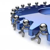 Team work partnership business men turning blue gear icon — Stock Photo