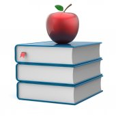 Book stack blue textbooks and red apple education icon — Stock Photo