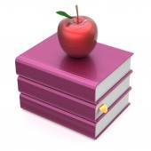 Books blank purple and red apple textbook stack school icon — Stock Photo