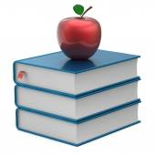 Books blank blue textbook stack and red apple reading icon — Stockfoto