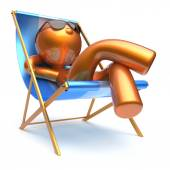 Man cartoon character relaxing beach deck chair harmony — Stock Photo