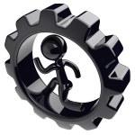Gearwheel man character inside gear wheel businessman — Stock Photo #77442160