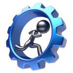 Man human character running inside blue gearwheel hard — Stock Photo #77442640