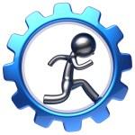 Character running man inside gear wheel businessman work — Stock Photo #77442766