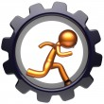 Gear wheel running man character hard work inside cogwheel — Stock Photo #77442854