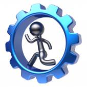 Man character running inside gearwheel businessman work — Stock Photo