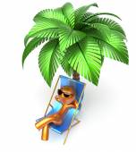 Man character relaxing beach deck chair palm tree chilling — Stock Photo