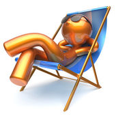 Man character chilling relaxing beach deck chair sunglasses — Stock Photo