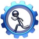 Cartoon guy character running man inside gear wheel icon — Stock Photo #78001680