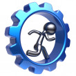 Running man human character inside gearwheel cogwheel — Stock Photo #78001936