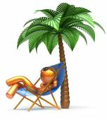 Chilling man character palm tree relaxing beach deck chair — Stock Photo