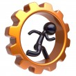 Gearwheel man character running inside gear wheel stylized — Fotografia Stock  #79429090