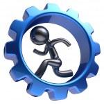Gear wheel cartoon guy business man character running hr — Stock Photo #79429110