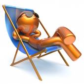 Man carefree relaxing chilling beach deck chair outdoor icon — Stock Photo