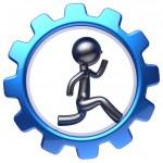 Gear wheel cartoon guy running business man character work — Stock Photo #80395470