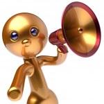 Man megaphone character promotion speaking stylized avatar — Stock Photo #80396136