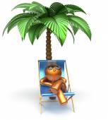 Chilling beach cartoon character deck chair man relaxing — Stock Photo