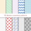 10 Different modern vector patterns, seamless — Stock Vector #57087263