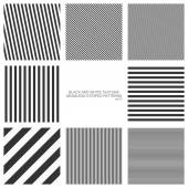 Set of seamless patterns, straight stripes, black and white texture. Vector backgrounds — Stock Vector