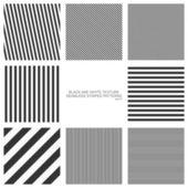 Набор бесшовных образцов, прямых полос, черно-белой структуры. векторные фоны — Cтоковый вектор