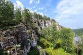 Rocks and pines of the Urals — Stock Photo