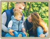 Family  mother and father with child in park walking in same clothes textile jeans jacket — Foto de Stock