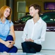 Business woman talking together on work place — Stock Photo #61853099