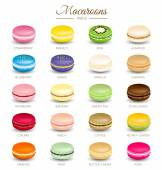Colorful macaroons flavors vector — Stock Vector