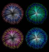 Colorful fireworks vector set  — Stock Vector