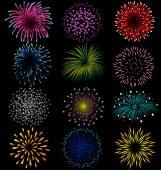 Fireworks set on black background — Stock Vector