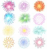 Fireworks set on white background — Stock Vector