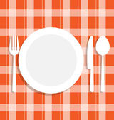 Cutlery dish on tablecloth — Stock Vector