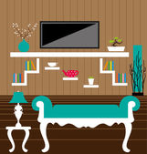 Living room interior vector — ストックベクタ