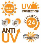 Set of UV Sun Protection and anti uv vector — Stock Vector