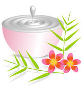 Beauty cream container on white background with flower and bambo — Stock Vector
