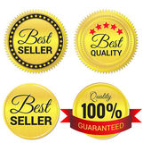 Best Seller ,Best Quality and Quality guaranteed gold Label vect — Cтоковый вектор
