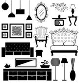 Antique and modern furniture vector — Stock Vector