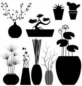 Flowerpot set vector — Stock Vector