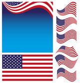 American Flag Set — Stock Vector