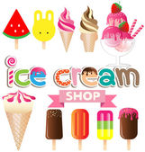 Collection of ice creams vector on white background — Stock Vector