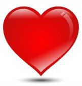 Stort rött hjärta på vit bakgrund — Stockvektor