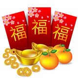 Chinese new year red packet  and decoration — Stock Vector