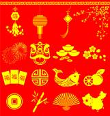 Chinese New Year icons Chinese wording translation is burst and  — Stock Vector
