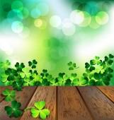 Shamrock on wooden floor for St. Patrick's Day card — Stock Vector
